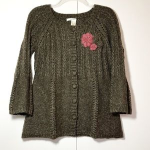 DKNY Jeans Brown Heathered Sweater W/ Flower